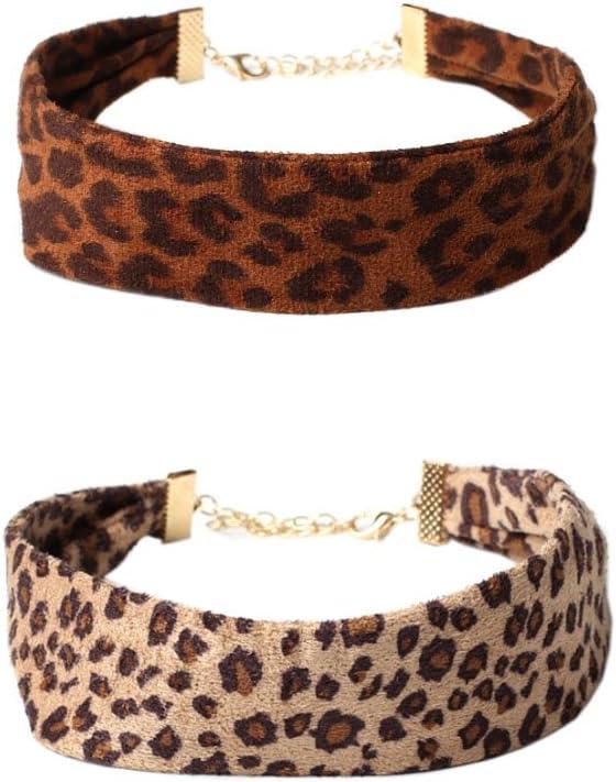 LeopardXL 2-Pack Leopard Print Faux Suede Choker Necklace-30CM