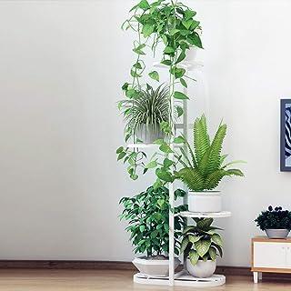 wangxike Estantería para Macetas Soporte para Plantas de Metal, Decorativa Plantas Exterior Interior Balcón Jardín con 6 Estantes - 45 x 22 x 96cm