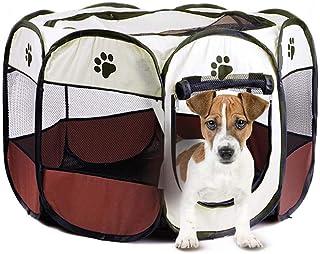 Yurika 八角形 ペットサークル 犬 猫折りたたみケージ 兼用 屋内/屋外 犬 ゲージ 犬 メッシュサークル 持ち運べに便利 軽量 お出かけ用品(S,ブラウン)