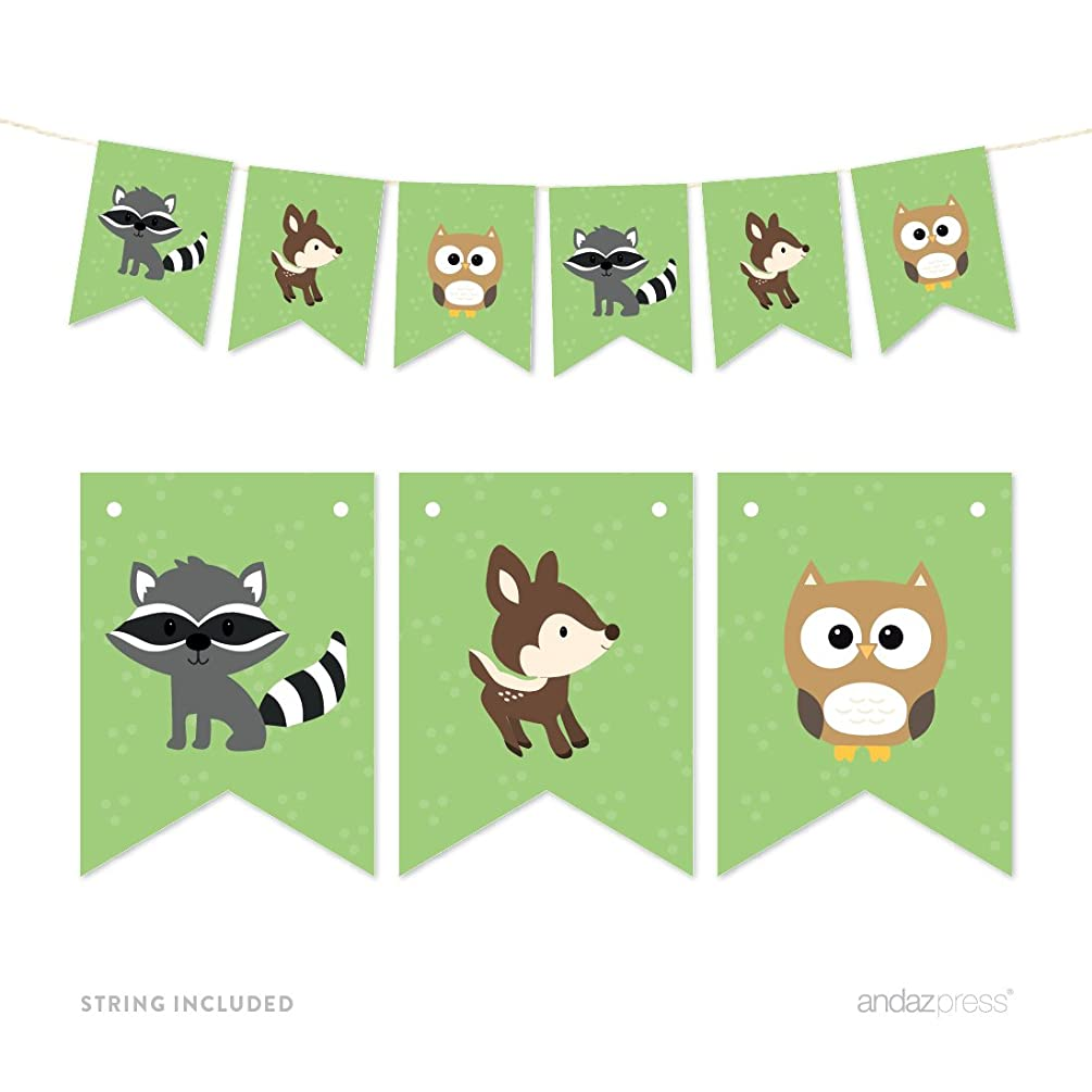 Andaz Press Hanging Pennant Party Banner with String, Woodland Animals Fox Raccoon Deer, 9-Feet, 1-Set, For Baby Shower, 1st Birthday Decor Paper Decorations, Includes String