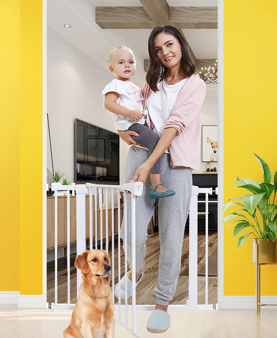 Baby Gates for Stairs and Doorways Dog Gates for The House, 30-40.5 inches - Indoor Safety Gates for Kids or Pets with Walk Through Door, Extra Wide Tall Metal Gate Pressure Mount Auto Close