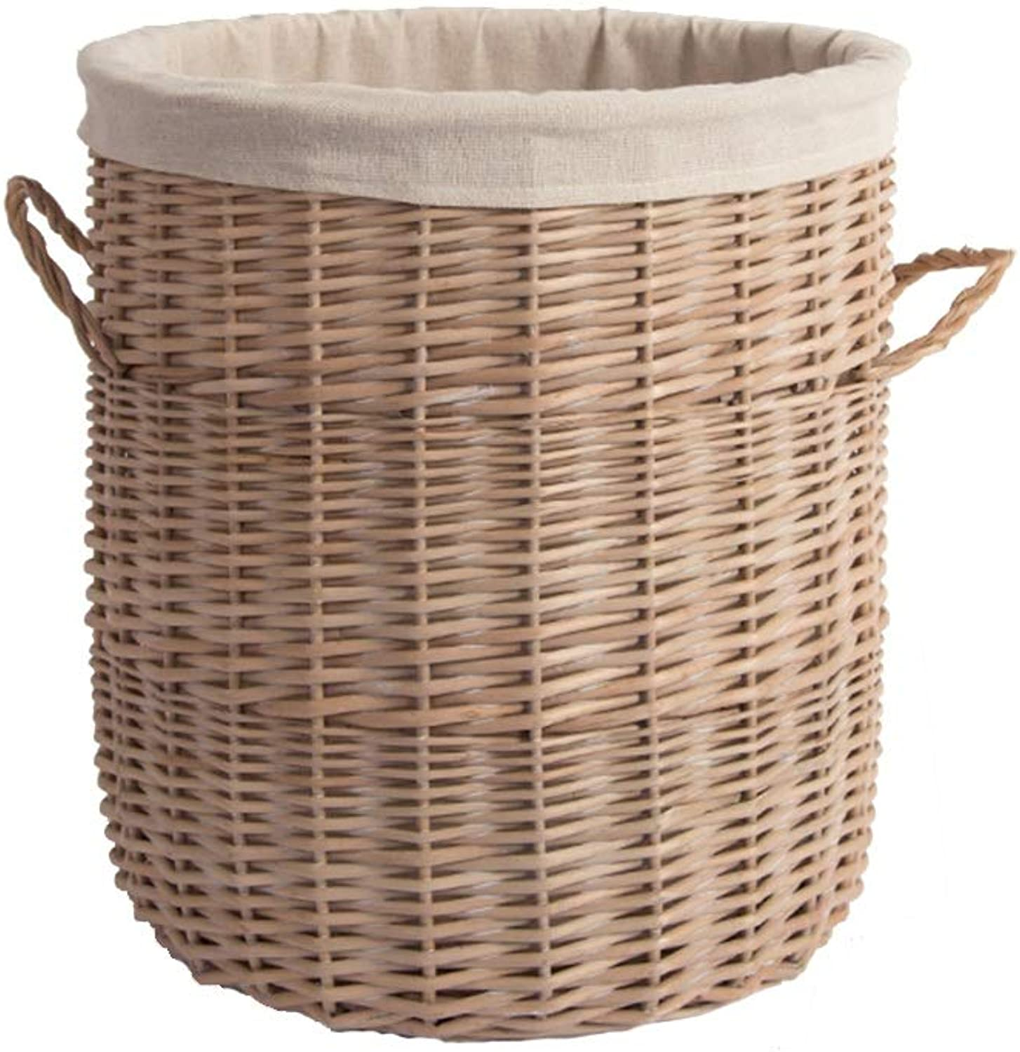 Laundry Hamper Large-Capacity Willow Woven Clothing Storage Basket with Lid Wood color Storage Basket ZHANGQIANG (Size   37cm40cm)