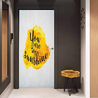 Onefzc Soliciting Sticker for Door Quote Inspirational Phrase on Watercolors Irregular Set Motto Mindful Life Theme Image Mural Wallpaper W35.4 x H78.7 Yellow Black