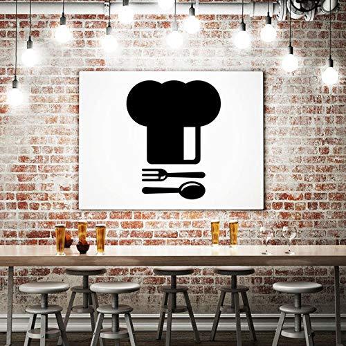 Tianpengyuanshuai Kochmütze Wandaufkleber Kochlöffel Gabel Küche Gourmet Getränk Wandaufkleber Vinyl Aufkleber Restaurant Kreative Fensterdekoration 63x78cm