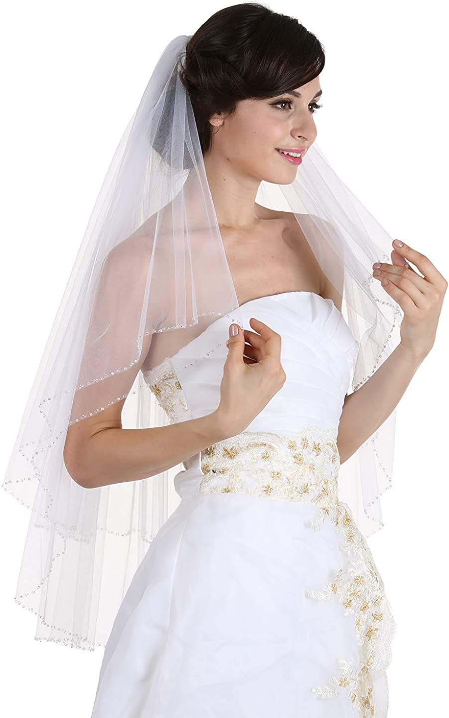 SAMKY 2T 2 Tier Handmade Clear Beaded New Orleans Outlet sale feature Mall Weddin Bridal Crystal Edge