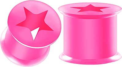 BIG GAUGES Pair Silicone Pink Double Flared Saddle Star Shaped Piercing Jewelry Ear Tunnel Earring Lobe Stretcher Plugs