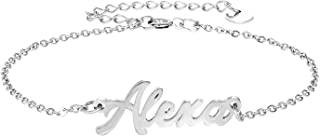 Personalized Name Bracelet, Name Plate Link Bracelet Anklet Custom Made Jewelry in Any Name Gift for Women Girls