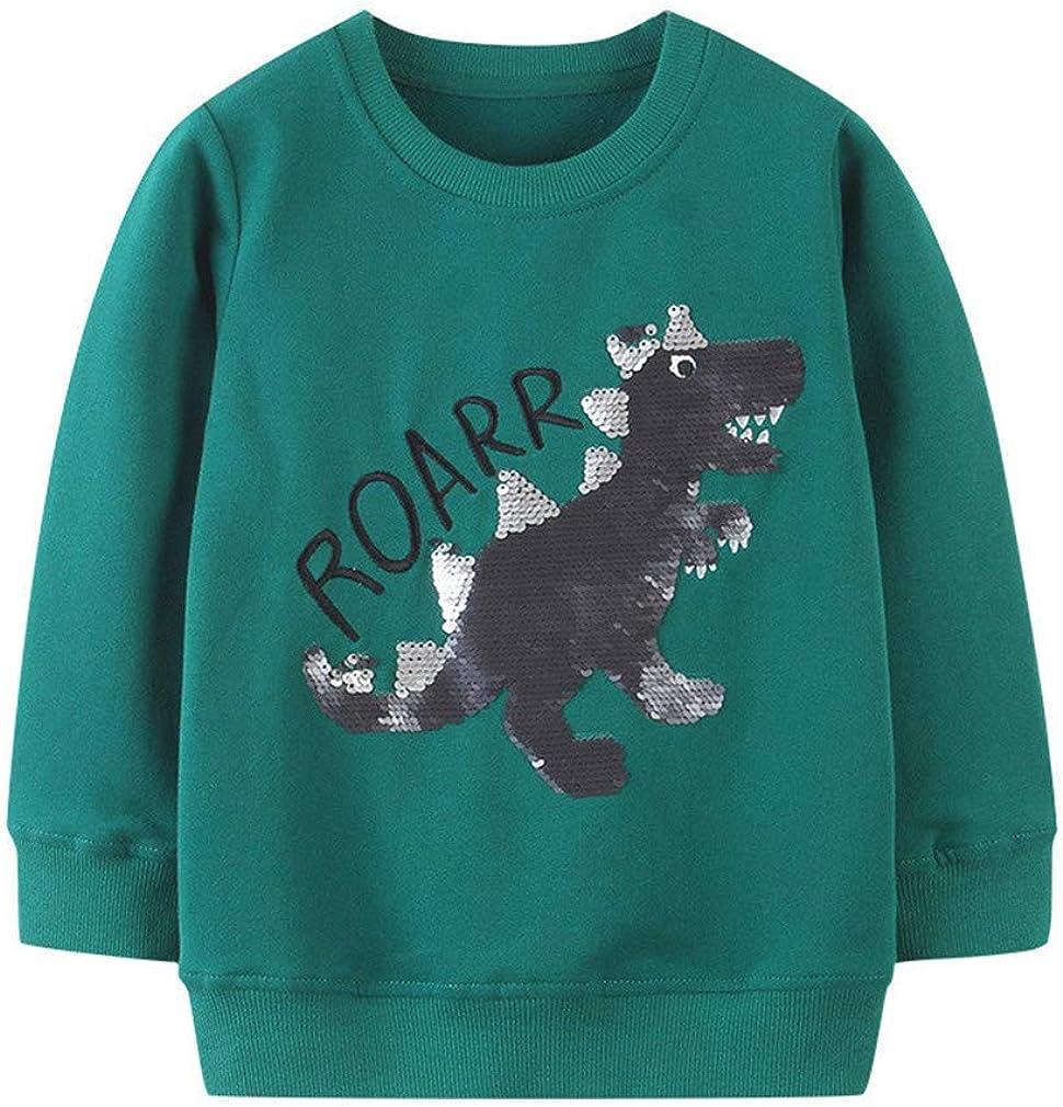 Toddler Boy Sweatshirts Pullover Cotton Casual Green Change Sequin Dinosaur Crewneck Winter Long Sleeve Tops Sweater Shirts 2T