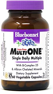 Bluebonnet Nutrition Multi One (iron Free) Vegetable Capsules for Complete Full Spectrum Multiple, B Vitamins, General Hea...