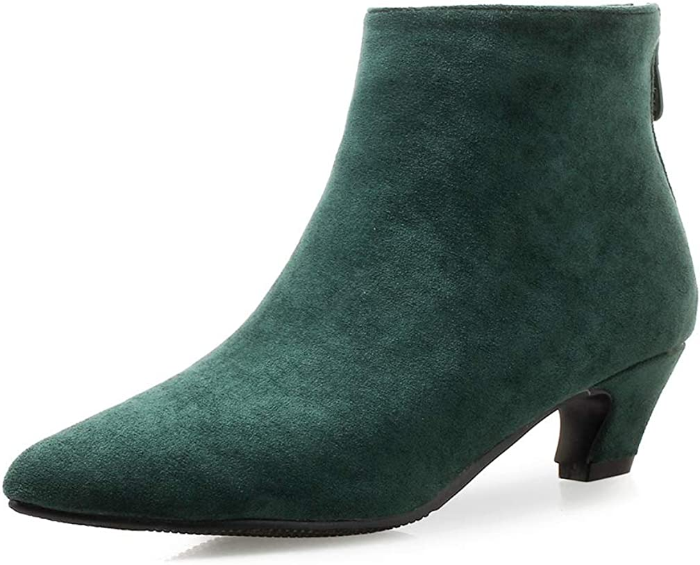 Women's Suede Low Heel Ankle Booties sale Don't miss the campaign Toe Warm Pointed Zipper Plu