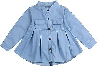 Little Baby Girls Kid Denim Ruffle Long Sleeve T-Shirt Tops Clothing Children Shirts Fashion Casual Blouse 1-6T
