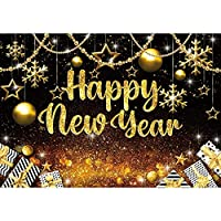 lovedomi 10x8ft 黒と金の新年あけましておめでとうございますこんにちは2022年大晦日パーティー写真背景写真スタジオブース背景家族休暇誕生日パーティー写真スタジオビニール素材を応援します