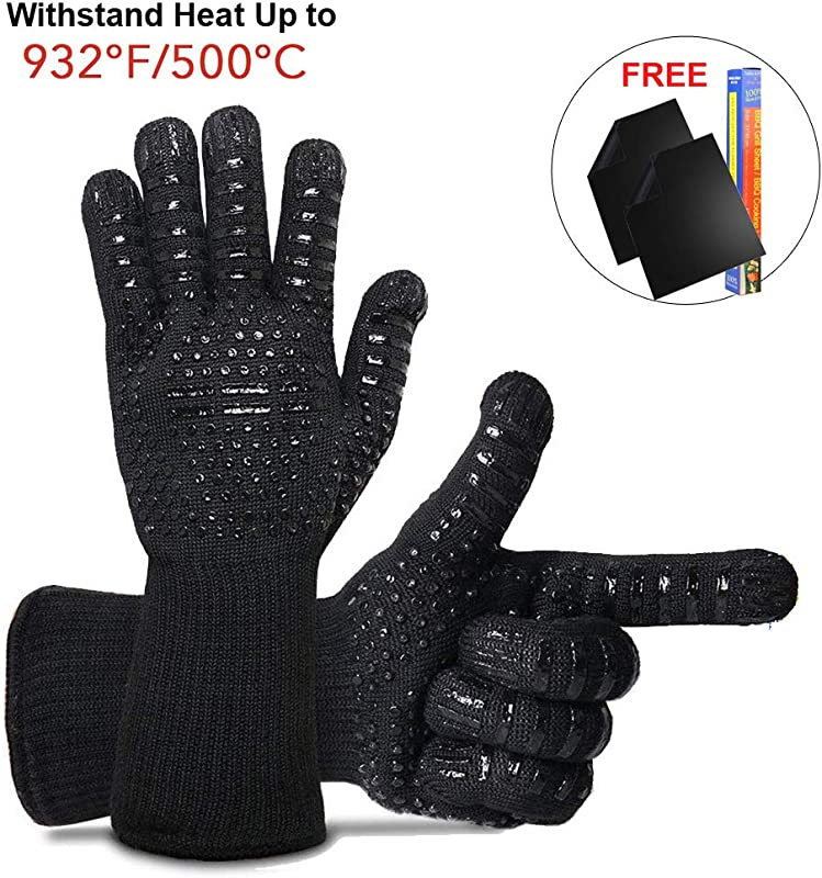 Heat Resistant Oven Gloves 932 F 500 C BBQ Grill Gloves Food Grade Kitchen Oven Mitts With Set Of 2 Non Stick Heavy Duty Grill Mats For Cooking Grilling Frying Baking