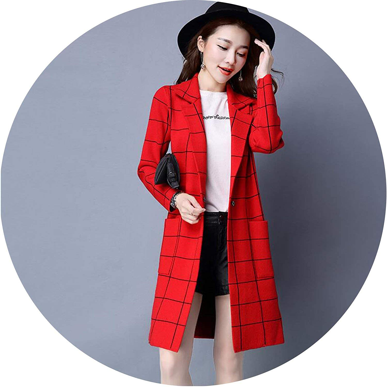 colorfulspace Women Full Sleeve Long Knit Cardigan Sweater Coat Loose Womens Knitted Female Plaid Cardigan