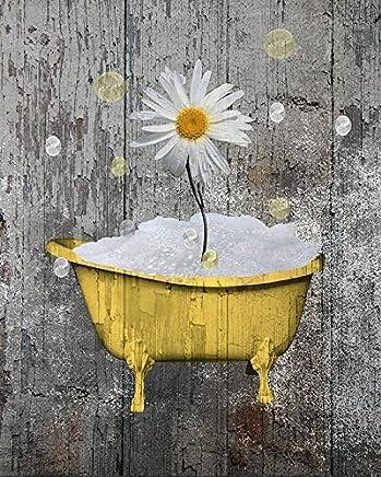 "Rustic Wall Art For Bathroom, Yellow Gray Daisy Flower, Bubbles, Yellow Bath Decor, Farmhouse Bath, littlepiecreations Original Photo Artwork, 8""x10"" Print with 11""x14"" White Mat, (Fits 11x14 Frame)"