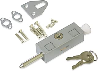 Keyed Patio Sliding Door Lock, with Steel Bolt, Aluminum Finish