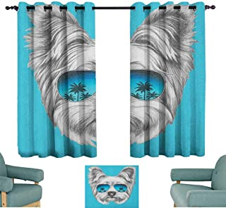 WinfreyDecor Yorkie Exquisite Curtain Yorkshire Terrier Portrait with Cool Mirror Sunglasses Hand Drawn Cute Animal Art 70%-80% Light Shading, 2 Panels,63