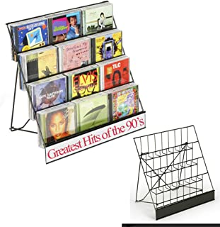 Displays2go Black Wire Display Rack, Four-Tiered Magazine Stand with 2-1/2-Inch Pockets (WRC4T1825)