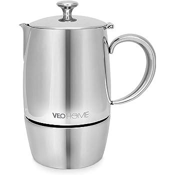 VeoHome - Cafetera Italiana de Acero Inoxidable 6 tazas 300 ml – Cafetera Moka Italiana para cocinas Inducción, Vitrocerámica y de Gas - Estilo Espresso – Irrompible, Segura y apta para Lavavajillas: Amazon.es: Hogar