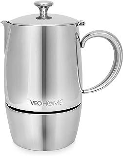 VeoHome Cafetière Italienne INOX 6 Tasses 300 ML – Cafetière Moka Induction, Gaz, Céramique Style Expresso – Incassable, S...