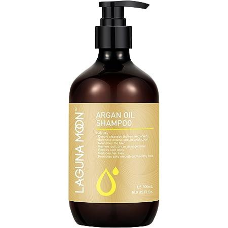 Lagunamoon Argan Oil Shampoo for All Hair Types of Men & Women, Moisturizing & Softening Treatment for Curly Frizzy Dry Hair, Natural & Organic Shampoo for Hair Nourishment & Repair,500ml/16.9 Oz
