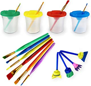 Newbested Set of 14 Pack No-Spill Paint Cups,Painting Brushes for Kids