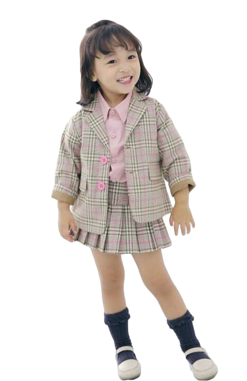 [ジャング] 子供スーツ フォーマル 卒業式 チェック柄 長袖 ジャケット スカート 女の子 スーツ コート セット 2点セット 上下セット 入学式 結婚式