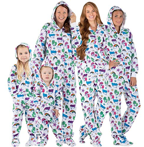 Footed Pajamas - Family Matching Unicorns Hoodie Onesies for Boys, Girls, Men, Women and Pets - Kids - Large (Fits 4'9-4'11