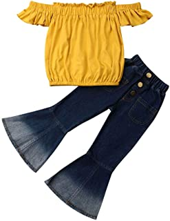 Merqwadd Toddler Baby Girl Clothes Off Shoulder Tube Top Shirt Bell Bottom Jeans Pants Summer Outfits