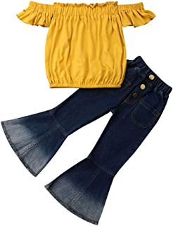 Christmas Toddler Baby Girl Clothes Off Shoulder Tube Top Shirt Bell Bottom Jeans Pants Summer Outfits