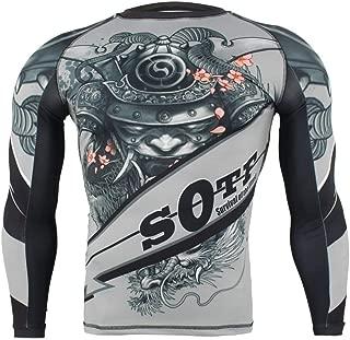 SOTF Men Athletic Compression Shirt MMA BJJ Rash Guard Long Sleeve Base Layer Top