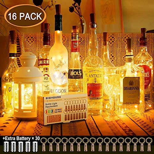 16 Stück LED Flaschenlicht, BIGHOUSE 20 LEDs 2M Lichterkette Kupferdraht batteriebetriebene Weinflasche Lichter mit Kork Schnurlicht für DIY Deko Weihnachten Party Urlaub Stimmungslichter (Warmweiß)