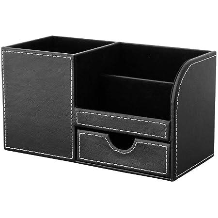 KINGFOM 4 Compartiments Multi-fonctionnels Organisateur de Bureau (Noir)