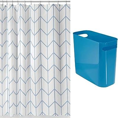 mDesign 2 Piece Decorative Bathroom Decor Set - Fine Weave Polyester Fabric Shower Curtain with Herringbone Print - Wastebasket Trash Can - Blue/White