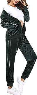 Irevial Completo Sportivo da Donna in Cotone, Tuta Ginnastica Donna Abbigliamento in Velluto, Felpa con Zip e Pantaloni Lu...