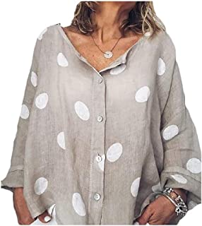 Howely Women's V-Neck Casual Loose Polka Dot Button Down Tops Blouse