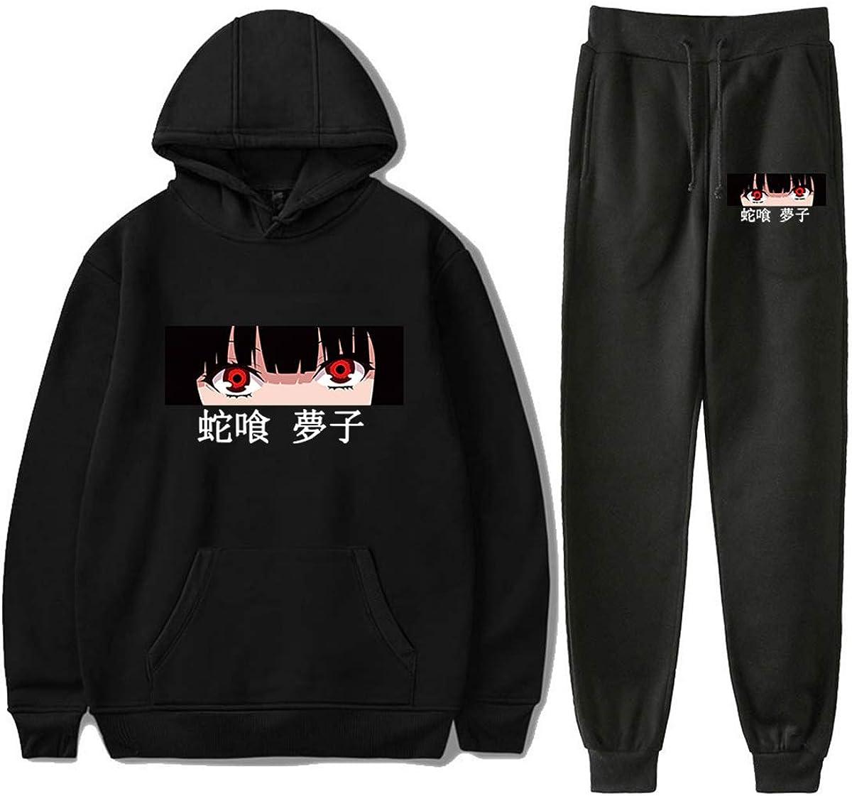 Kakegurui Anime Tracksuit Sets Youth Hoodie and Sweatpants Suit Outfit Fashion Sweatshirt Set for Women