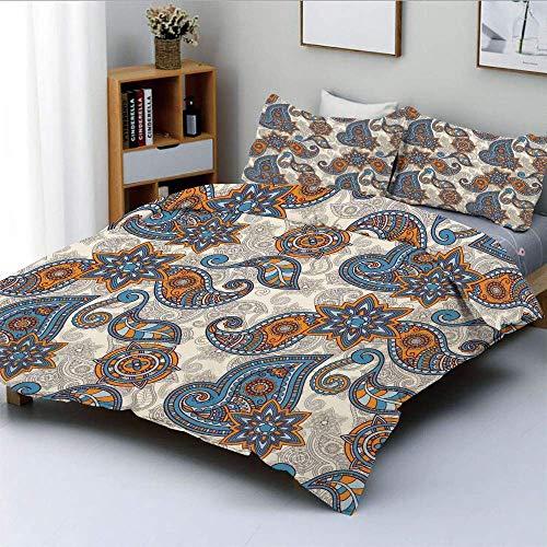 Qoqon Bettbezug-Set, Ethnic Tribal Paisley Design mit Blumendetail Abstrakter Hintergrund DekorativDekorativ 3-teiliges Bettwäscheset mit 2 Kissen Sham, Ringelblume Violett Blau Beige, Best Gi