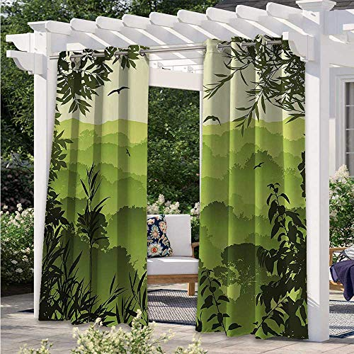 Outdoor Patio Curtain Forest Scenery with Tea Trees and Gulls in the Jungle Birds Branches Eco Graphic Work Thermal Insulated, Sun Blocking Blackout Curtains Great for Your Outdoor Deck W84 x L84 Inch