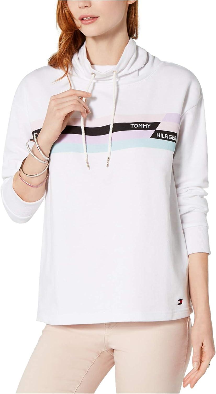 Tommy Hilfiger Womens Chest Stripe Hoodie Sweatshirt