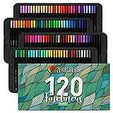 Zenacolor 120 Rotuladores Punta Fina - Boligrafos Punta Fina 0.4mm - Material escolar Perfecto para Caligrafía, Lettering, Colorear, Mandalas, Cómics, Manga