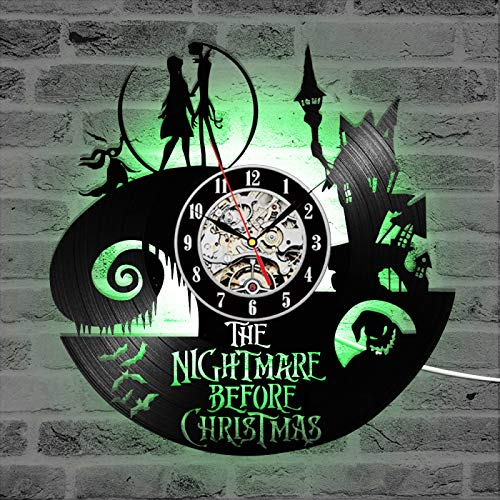 KEC The Nightmare Before Christmas Theme CD Record Clock 3D Jack y Sally Film Hanging LED Wall Clock Creative Antique Wall Clock