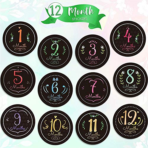 PMSMT 2020 Nueva Tendencia navideña Moderna Pop bebé Mes de Nacimiento Pegatina álbum de Recortes Pegatinas de Ducha de bebé para niños (Juego de 16)
