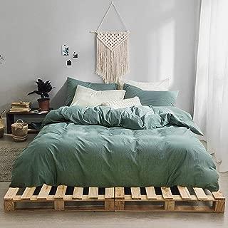 Travan 3-Piece Duvet Cover Set, 100% Washed Cotton Duvet Cover, Ultra Soft Solid Color Modern Style Bedding Set Natural Wrinkled Look (Green, Queen)