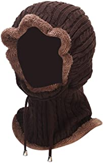 KCBYSS 2 in 1 Winter Women's Hat Scarf Thicken Warm Beanie Hats Lace-up Hemming Caps Ski Unisex Bonnet (Color : Brown, Size : One Size)