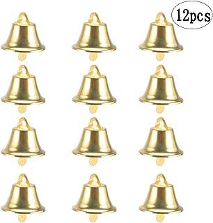 BinaryABC Golden Bell Jingle Bells Christmas Tree Ornaments Decoration,Christmas Tree Pendants,12Pcs(Golden)