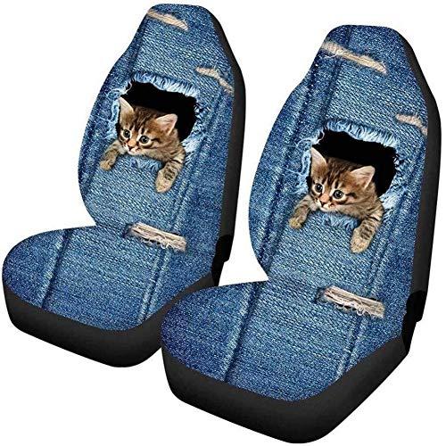 2 fundas de asiento de coche para asientos delanteros con estampado de gato, universales, separables, para el copiloto