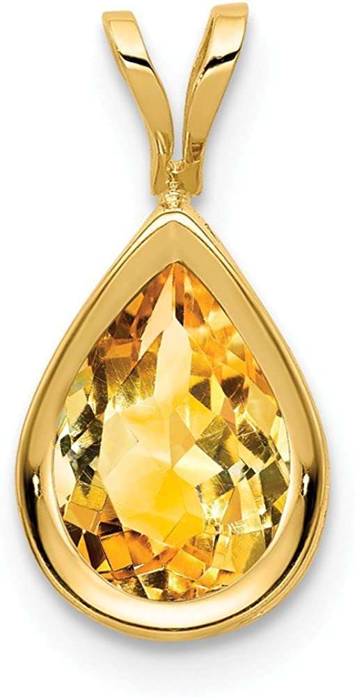 14k Yellow Gold 9x6mm Pear Citrine Bezel Pendant Charm Necklace Gemstone Fine Jewelry For Women Gifts For Her