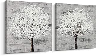 Pinetree Art Abstract Hand Painted Living Tree Wall Art Canvas Trees Painting for Livingroom (C & D, M)