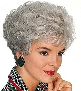 Grandma Wig Old Lady Granny Wigs Cosplay Costume Party Woman Grey Mother BL
